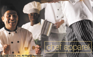 Chef Apparel: chef coats, chef pants, chef hats, scull caps, beanies, cook/utility shirts