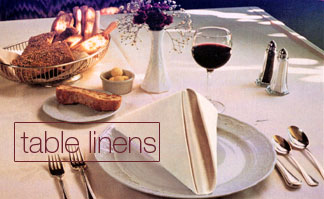 Table Linens: 100% spun polyester table linens, 50/50 blend poly/cotton linens, 100% us-made cotton lace table linens, disposable tablecloth protectors