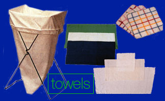 Towels: bar towels, flour sack towels, dish towels, grill wipes, cheese cloths, laundry bags